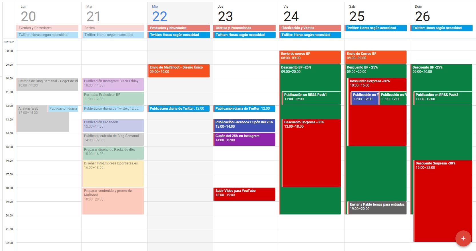 planificación calendario
