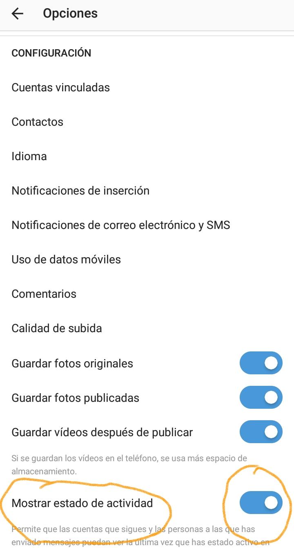 Desactivar última hora en Instagram