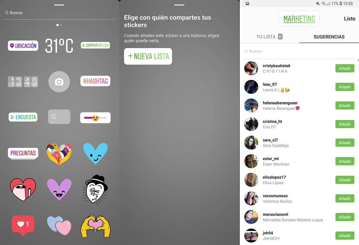 Crea listas y comparte en Instagram